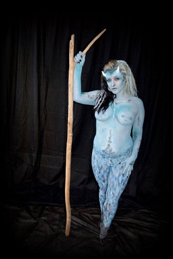 body paint by artist Sarah Pearce with Earth Fairy Entertainment in Portland Oregon, demon, or faun,