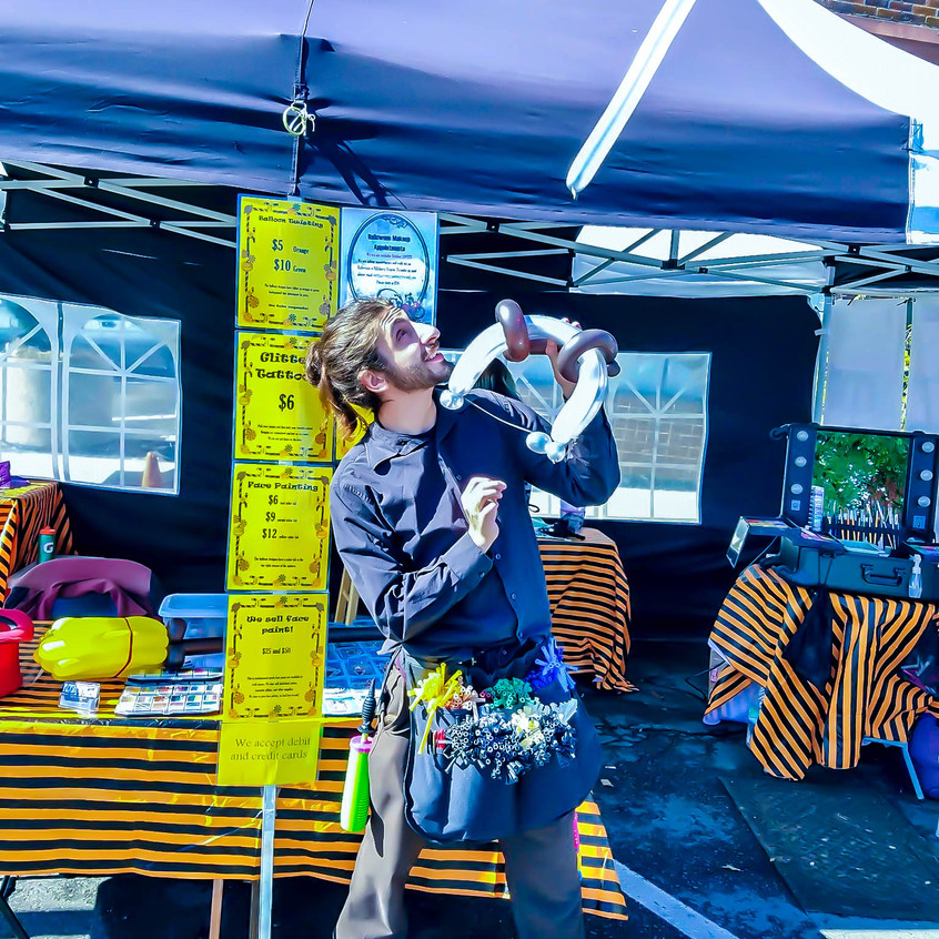 Earth Fairy Entertainment booth from Portland, at Spirit of Halloween Town in  St Helens Oregon, balloon twister, bow and arrow, interactive toy, birthday party