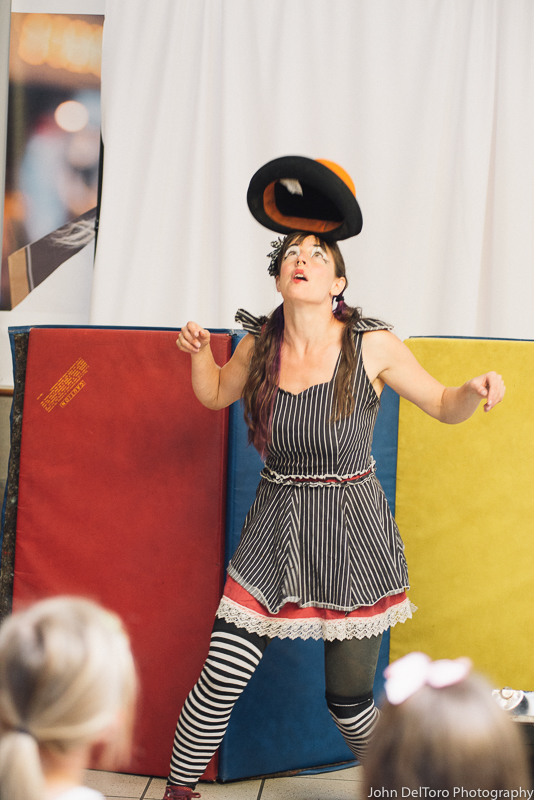 Circus magician with Earth Fairy Entertainment in Portland Oregon, kids party show, fun for children, free, hat trick