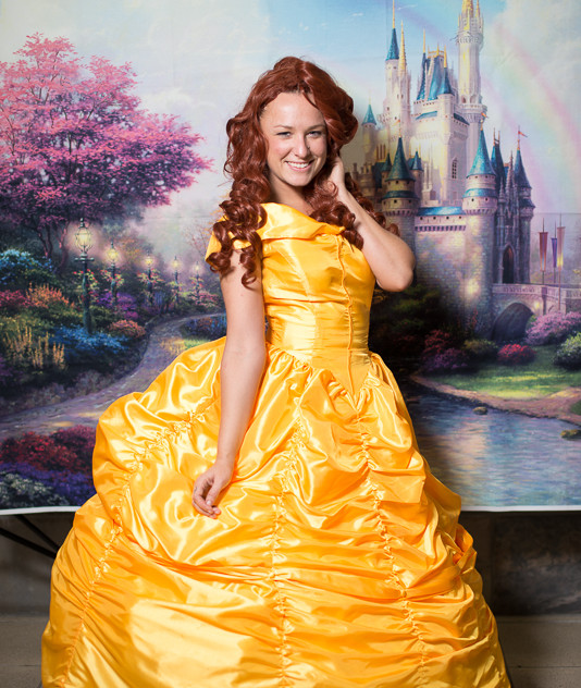 Princess Belle look alike impersonator with Earth Fairy Entertainment in Portland Oregon, party, corporate, event, girl fun