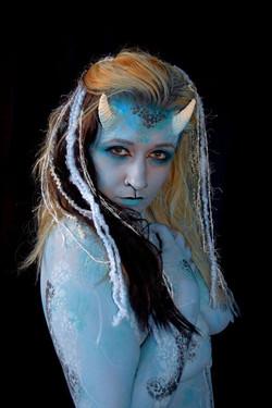 body paint by artist Sarah Pearce with Earth Fairy Entertainment in Portland Oregon, demon, faun, ma