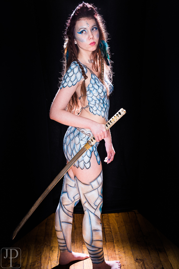 warrior princess body paint by professional artist Sarah Pearce in Portland Oregon, blue silver, cos