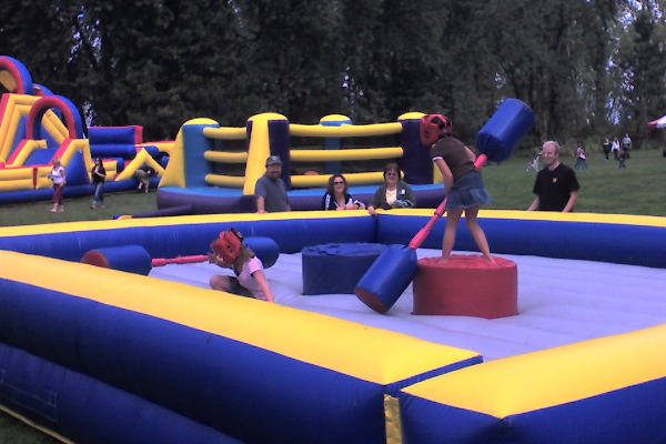 Gladiator Joust Inflatable Game with earth Fairy Entertainment in Portland Oregon, kids area, childr