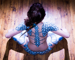 warrior princess body paint by professional artist Sarah Pearce in Portland Oregon, for hire, costum