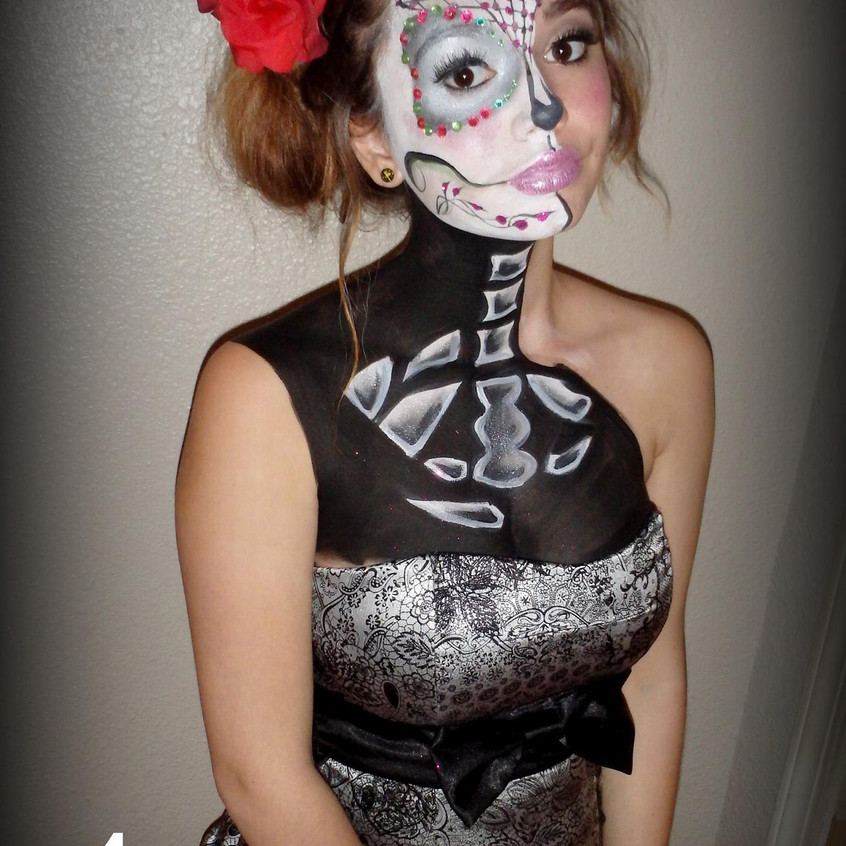 Day of the Dead sugar skull by artist Sarah Pearce in Portland Oregon, face paint class, makeup, Halloween, book your appointment