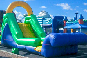 15 foot water slide and pool with Earth