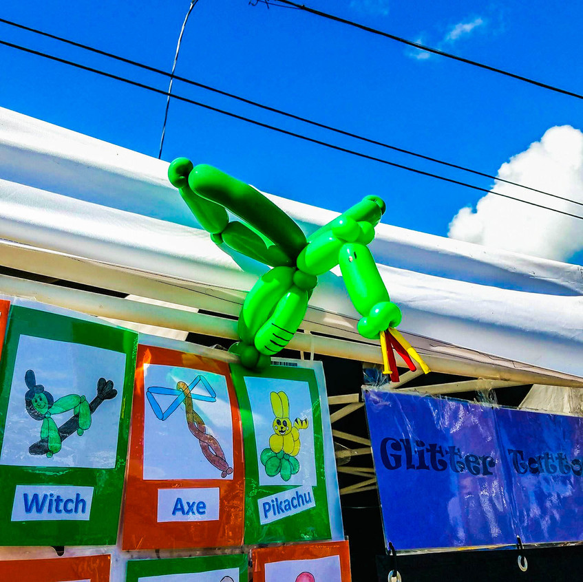 Earth Fairy Entertainment booth from Portland, at Spirit of Halloween Town in  St Helens Oregon, dragon balloon, twister, birthday party