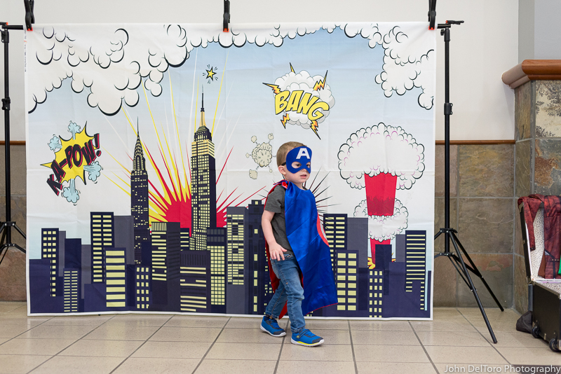 Bat Hero Man costume character appearance by Portland Party Characters in Oregon, kids super hero birthday party, hire professional entertainer, Hillsboro, Vancouver, lit