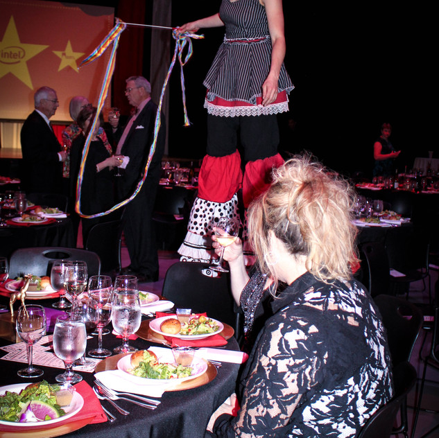 stilt walkers and circus performers with Earth Fairy Entertainment in Portland Oregon, juggler, magician,