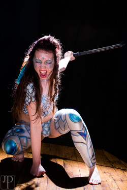 warrior princess body paint by professional artist Sarah Pearce in Portland Oregon, Washinton, costu