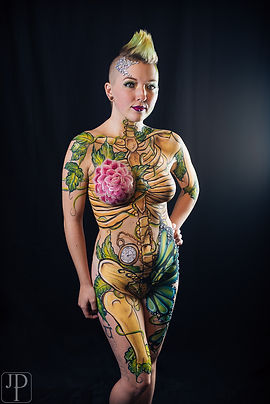Body Paint By Artist Sarah Pearce In Portland Oregon Skeleton Vines Pocket Watch Skin Epic Ros