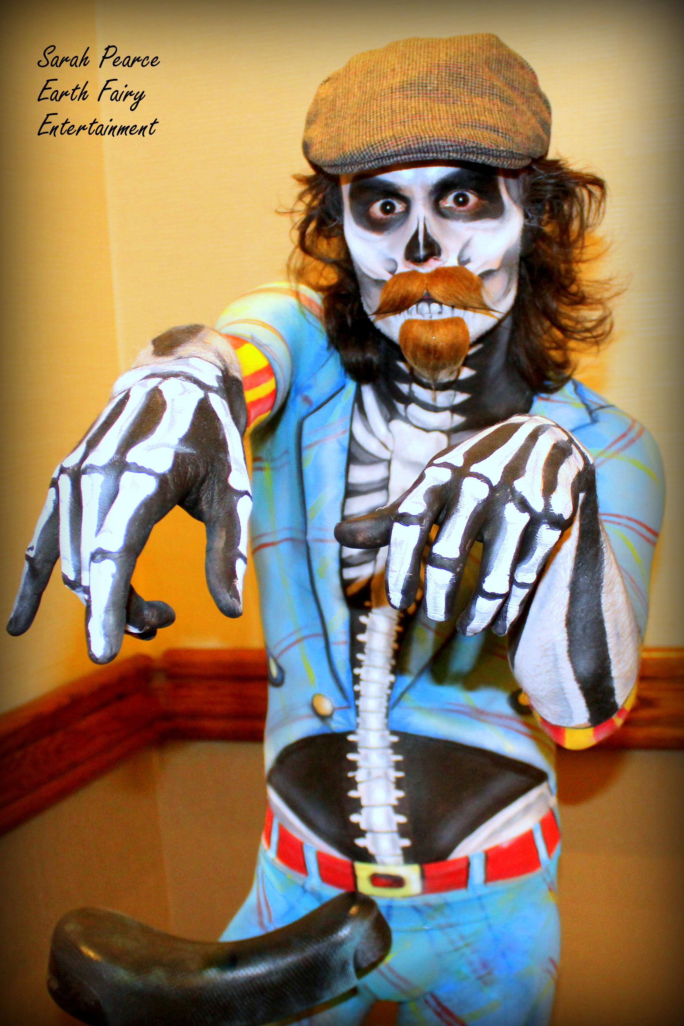 Portlandia Skeleton body paint by artist Sarah Pearce in Portland  Oregonwith Earth Fairy Entertainm