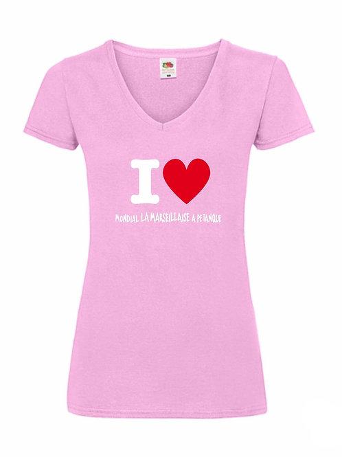 """Tshirt femme rose """"I love Mondial La Marseillaise à Pétanque"""""""