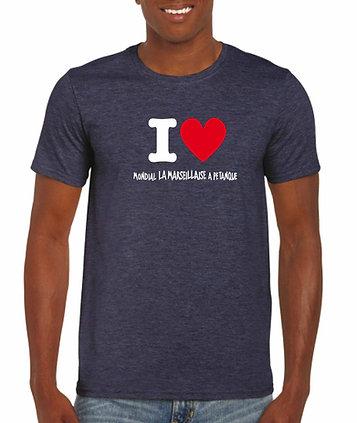 """Tshirt chiné marine """"I love Mondial La Marseillaise à Pétanque"""""""