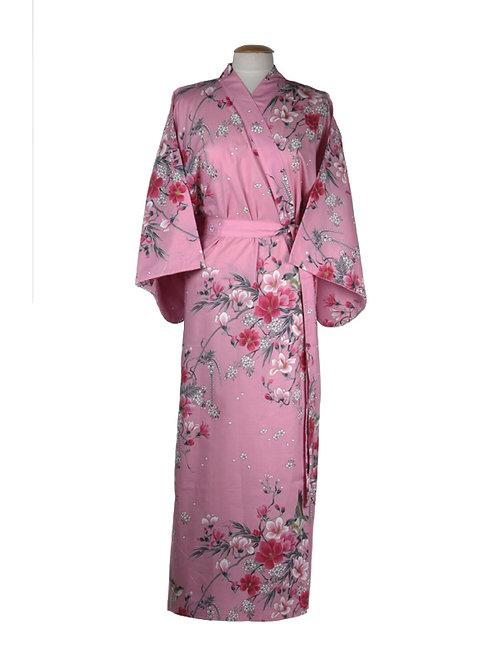 """Traditionele Japanse kimono met """"Magnolia"""" dessin. roze"""