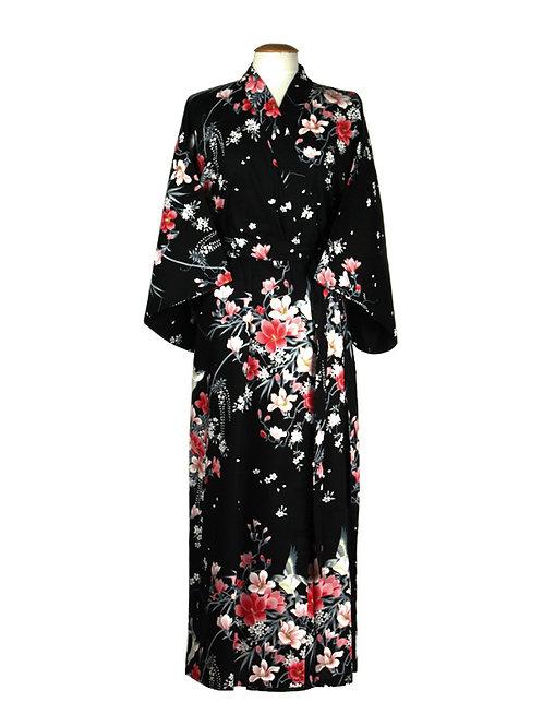 """Traditionele Japanse kimono met """"Magnolia"""" dessin. zwart"""