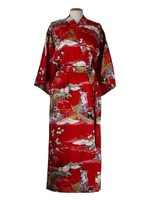 """Traditionele Japanse kimono met """"Ukiyoe"""" dessin. rood"""