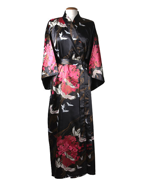 Kimono 100% polyester kraanvogels zwart
