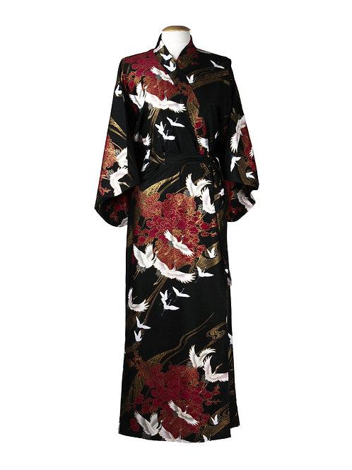 "Traditionele Japanse kimono met ""kraanvogel"" dessin.zwart wit rood vogel"