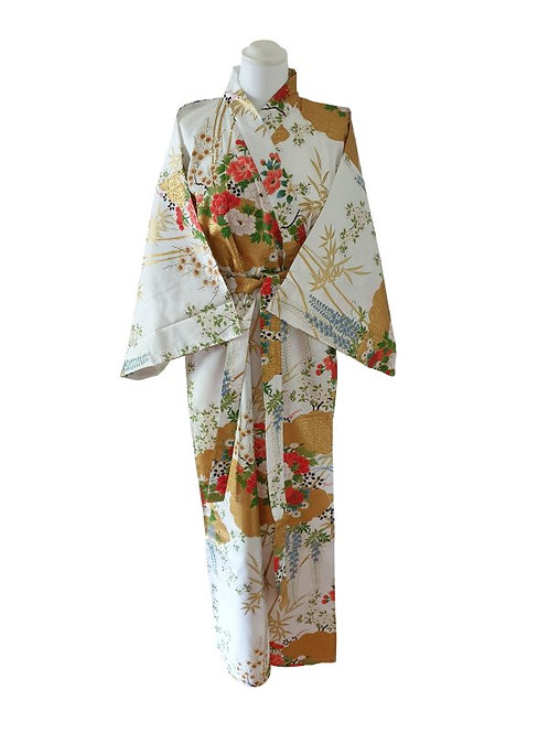 "Kimono katoen 55"" flower  wit"