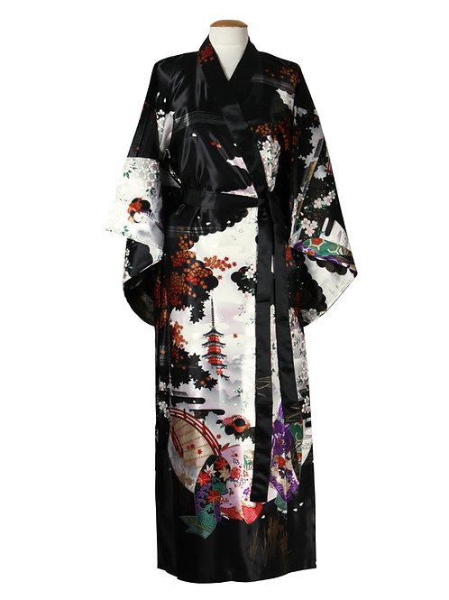 Kimono 100% polyester  Maiko zwart