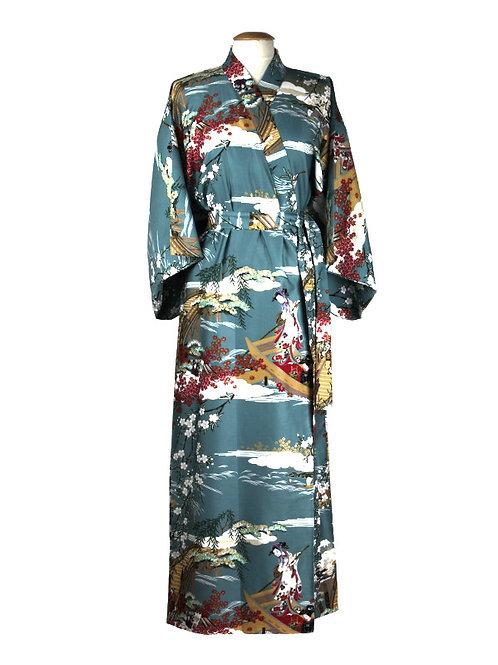 "Traditionele Japanse kimono met ""Ukiyoe"" dessin. blauw"