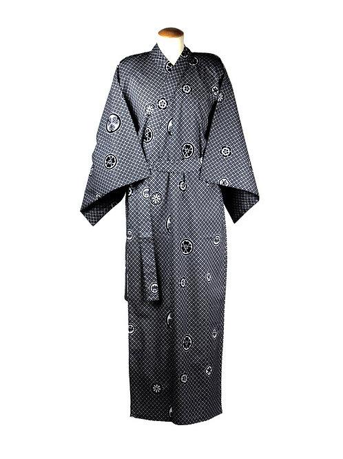 Yukata 100% katoen Crest navy blue