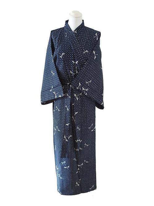 "Yukata katoen 56"" Dragonfly  Navy blauw"
