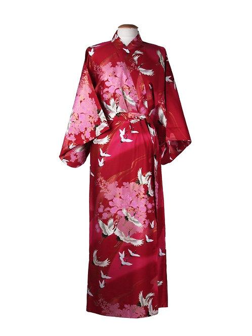 Kimono 100% polyester  rood kraanvogels