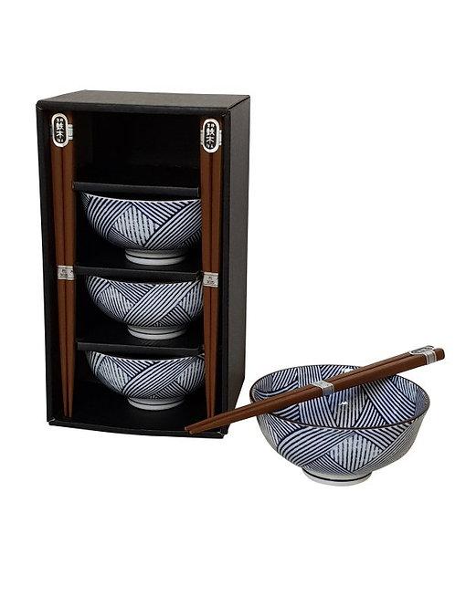 Tokusa cross schalen 11,8x5,5cm met eetstokjes set/4