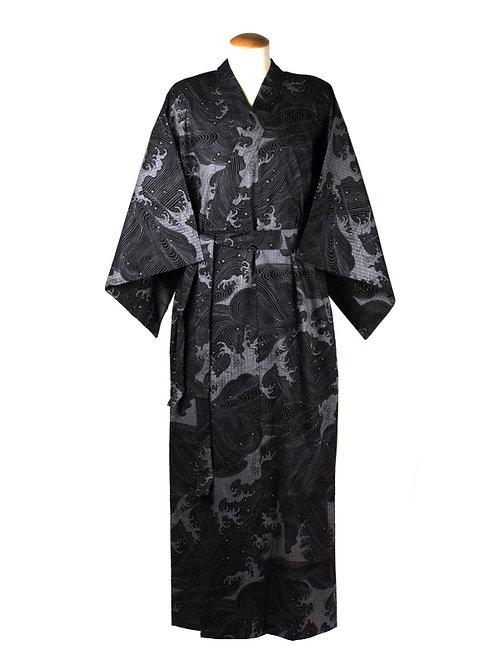 Yukata 100% katoen Wave  zwart