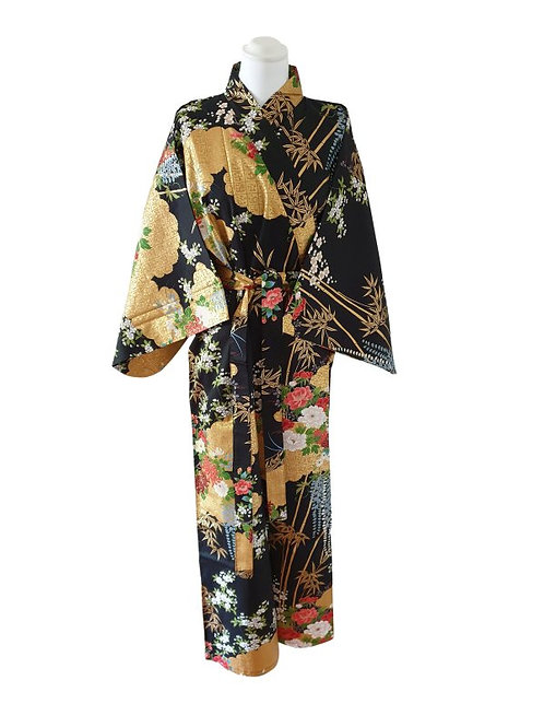 "Kimono katoen 55"" Flower  zwart"