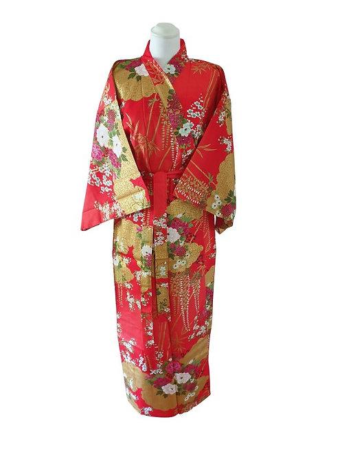 """Kimono katoen 55"""" Flower  rood"""