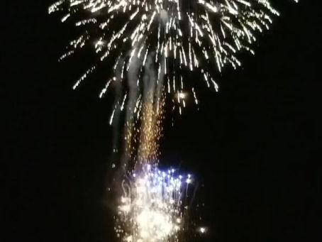 地蔵盆ローソク祭りでの花火