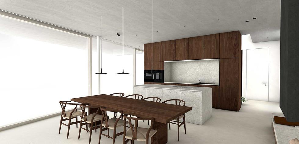 martina hatzenbichler-innenarchitektur-interior design-wien-vienna-architektur-einfamilienhaus-single familiy house-küche-minimalistisch-minimalistic kitchen-heller boden-pandomo-white floor-nussholz-walnut wood-kalkstein-limestone-01