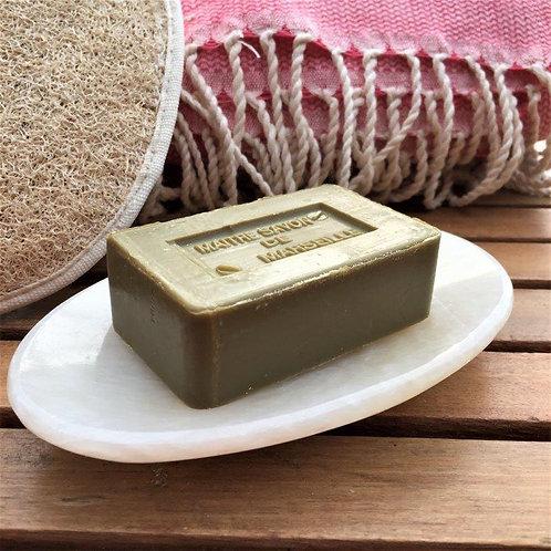 Porte-savon en albâtre mat fait main en Egypte