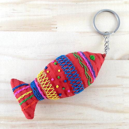 Porte-clé poissons rouge en tissus d'égypte