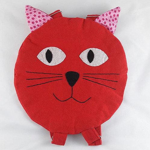Sac à dos enfant en coton d'égypte modéle chat rouge