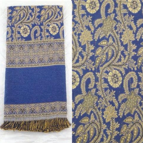 Châle égyptiens avec motifs cachemire bleu
