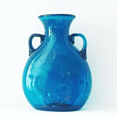 Vase en verre soufflé turquoise fait main modélé antique Bawiti