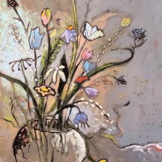"""Sue Archibald, """"Florals and Greys"""""""