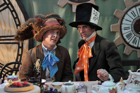 Alex as the Mad Hatter in 'Alice in Wonderland', with Chris York