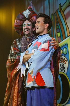 Alex as Abanazar in 'Aladdin', with Colin Kiyani, by Graham Bennett