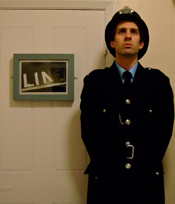 Alex as the Policeman/Teacher in 'Blood Brothers' (backstage)