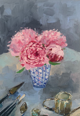 Peonies and brushes