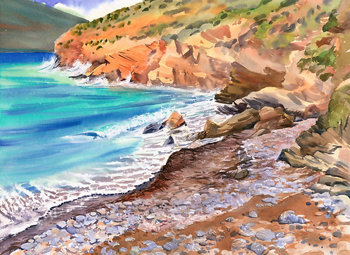 Original Painting | Greece | Kalymnos | Striped Rock Beach