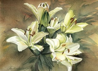 Watercolors of Flowers Cards White Lilies