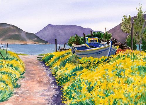 Original Painting | Greece | Kalymnos | Parked Boat