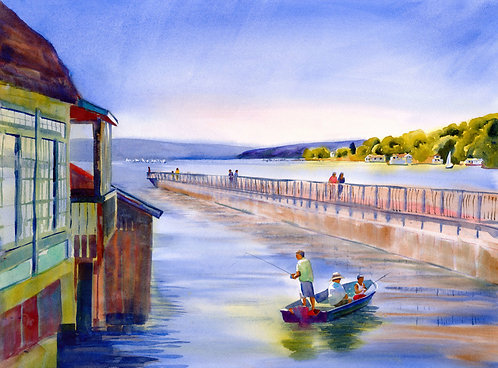 Prints | Fishing at the Pier, Skaneateles