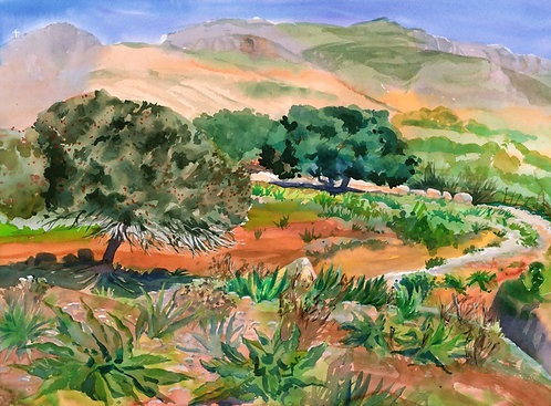 Original Painting | Greece | Kalymnos | Trees on a Hill